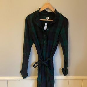 GAP Dresses - NWT Gap Plaid Ruffle-Neck Popover Shirtdress